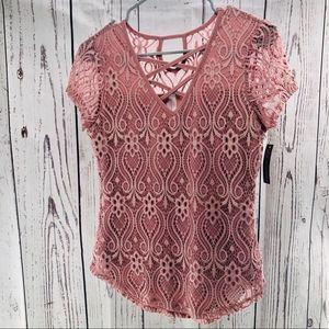 Lace Mauve short sleeve Top - Mauve Pink